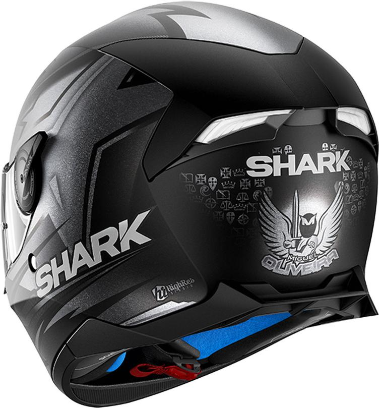 Shark Skwal 2 Replica Oliveira Weisse LED Helm